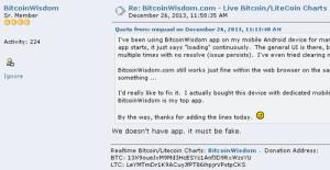 Cryptoff.net: У нас нет мобильных приложений - BitcoinWisdom
